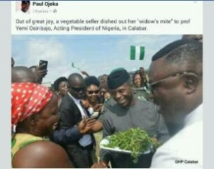 Photo of the day: Woman gifts osibanjo fresh vegetables in Calabar