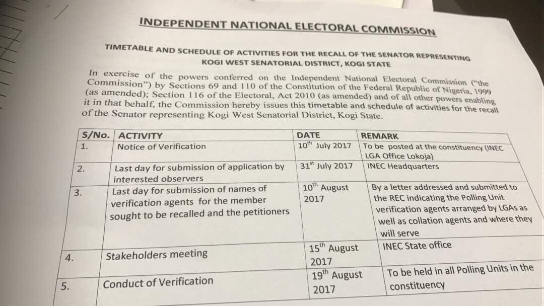 , BREAKING – INEC releases Time Table for Dino Melaye's Recall (Photo), Effiezy - Top Nigerian News & Entertainment Website