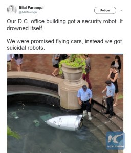 """Security robot """"commits suicide"""" in Washington fountain"""