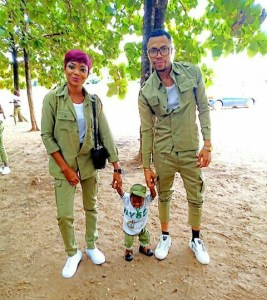 NYSC couple with their little son in NYSC outfit (Photo)