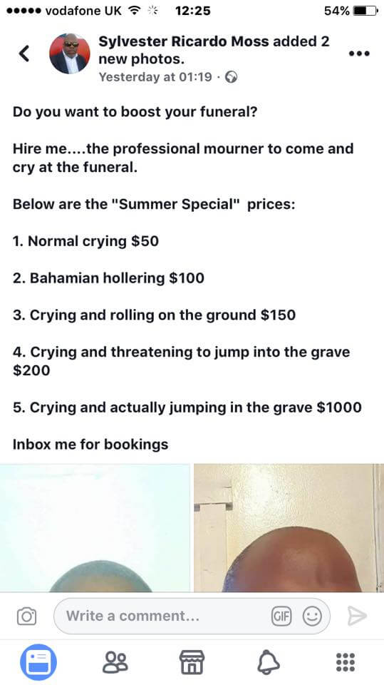 , Professional American funeral crier/mourner lists his crying charges on Facebook, Effiezy - Top Nigerian News & Entertainment Website