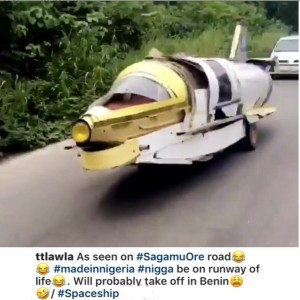 """Made-In-Nigeria """"Spaceship"""" spotted along Sagamu Ore Highway. (Photos/Video)"""