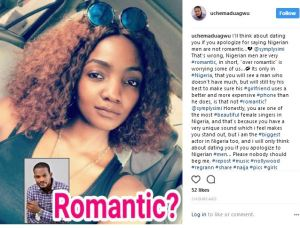 'I'll think about dating you if you apologize for saying Nigerian men are not romantic' – Uche Maduagwu proposes Simi