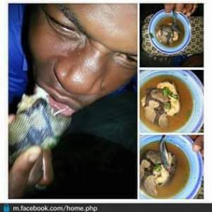 Photo of a guy eating snake meat sparks outrage online