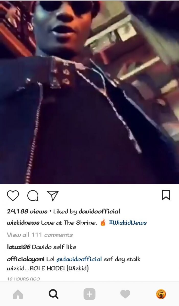 , See how fans reacted after Davido 'liked' Wizkid's video on Instagram, Effiezy - Top Nigerian News & Entertainment Website