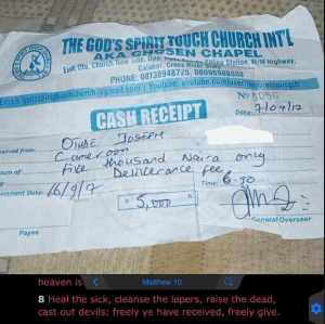 Nawa Ooo! Check Out This Receipt For Deliverance Fee Paid To A Church