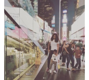 Flavour's babymama, Sandra Okagbue and daughter holiday in New York