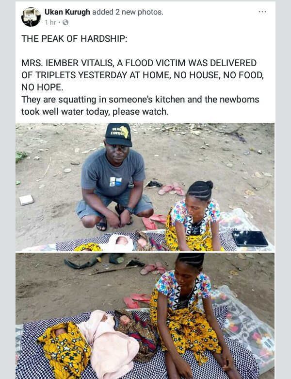 , Benue flood victim squatting in someone's kitchen delivers triplets (Photos), Effiezy - Top Nigerian News & Entertainment Website