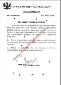 EFCC Report Against Ibe Kachikwu Sent To Osinbajo, The Vice President Leaks