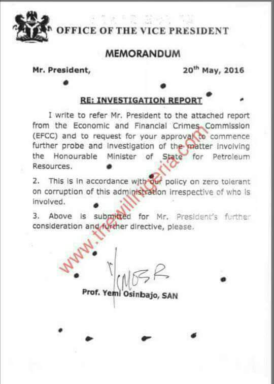 , EFCC Report Against Ibe Kachikwu Sent To Osinbajo, The Vice President Leaks, Effiezy - Top Nigerian News & Entertainment Website