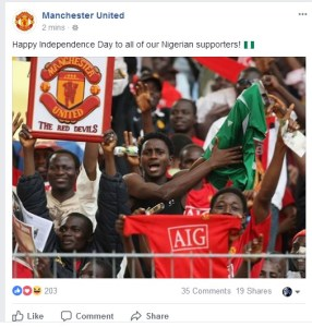 Manchester United celebrates Nigeria's independence