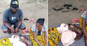 Benue flood victim squatting in someone's kitchen delivers triplets (Photos)