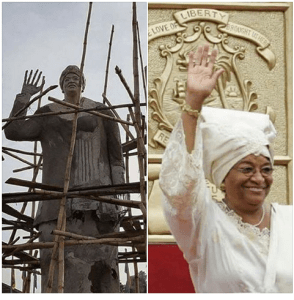 Statue of Liberian President spotted in Owerri ahead of visit to Imo state (Photos)