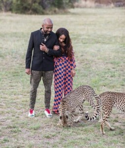 Check Out Photos Of Banky W & Adesua Playing With Cheetahs (Photos)