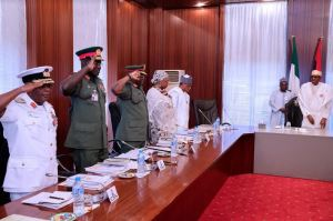 What Buhari did during closed-door meeting with security chiefs