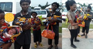 Nigerian Man Carries His Twin Babies Begging For Help After His Wife Died After Giving Birth (Photos)