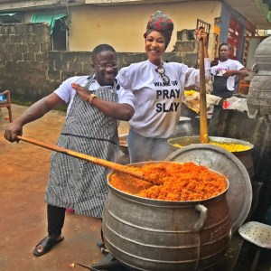 Tonto Dikeh cooks massive pots of rice for Charity (Photos)