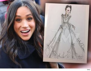 See The Sketches of Meghan Markle's Potential Wedding Dress (Photos)