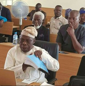 Ex. President Olusegun Obasanjo Seen Defending His PhD Thesis At National Open University (Photos)