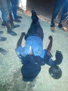 Trailer crushes the skull of a police man in Niger State (Very Disturbing Photo)