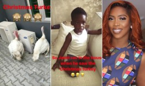 , LOL: Tiwa Savage's Son Ran Into The House After He Saw Their Christmas Turkey (Photo & Video), Effiezy - Top Nigerian News & Entertainment Website