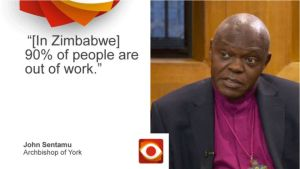 90% of Zimbabweans are unemployed – Archbishop Sentamu
