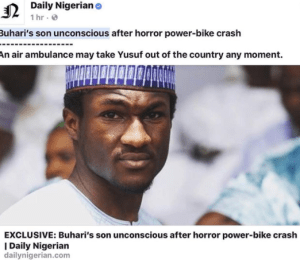 President Buhari's son suffers serious head injuries after bike crash, in critical care