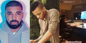Rapper, Drake shares picture of Tekno in his studio (Photo)