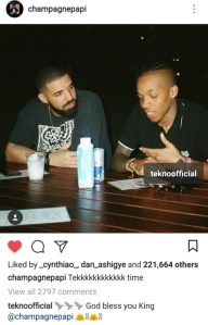 "Tekno calls Drake ""king"" in new photo"