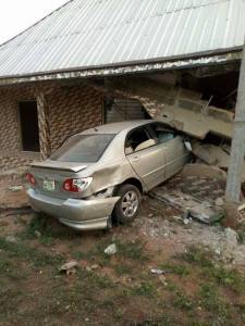 Drunk Driver Smashes Car Into A Building In Delta State (Photo)