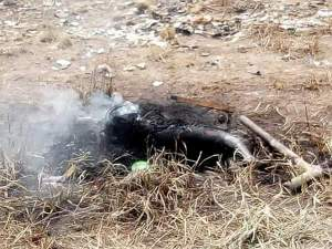 Mad Woman Caught With Human Body Parts In Delta Burnt By Youths (Graphic Photos)