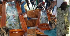 Man buries his father with N2.8m in cash, filled inside his glass coffin (Photos)