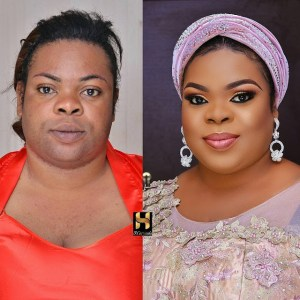 See how make-up transformed this lady (Photo)