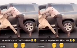 Two Grown Men Parked Their Jeeps To Exchange Heavy Blows On 3rd Mainland Bridge (Video)