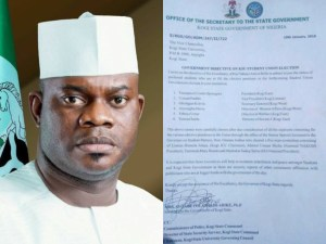 Kogi State Governor, Yahaya Bello gives Kogi State University VC list of students to win SUG election (Photo)