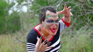 Transgender woman transforms herself into dragon with 8 horns after being diagnosed with HIV (Photos)