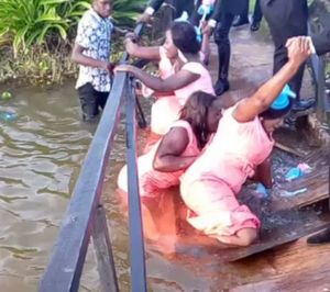 See as Bridesmaids fall inside river after a bridge collapsed on their way to the wedding (Photo & Video)