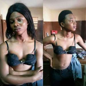 Young man who disguised as a lady caught while enjoying in a nightclub (Photo)