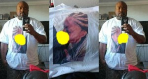 American Man Caught His Girlfriend Cheating On Him, Prints The Photo On A T-Shirt & Wears It To Her Workplace (Photos)