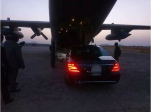 Photos Of President Buhari's Official Car Being Airlifted At Taraba State Yesterday (Photos)