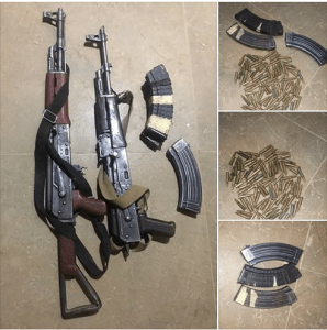 AK 47 Rifles, ammunition recovered from armed bandits in Kaduna (Photos)