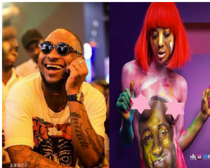 Lady goes naked, covers her body with a painting of Davido (Photo)