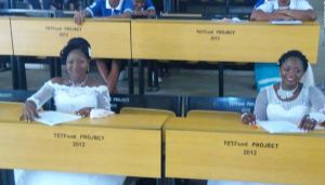 2 Brides Leave Their Wedding Receptions To Go Write Their Final Year Exam In Benue (Photos)