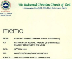 RCCG members to submit their genitals for inspection as part of pre-marital medical tests?