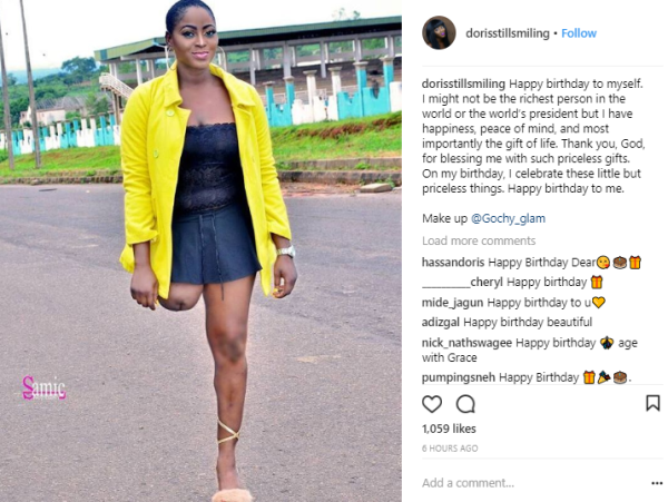 , Check Out This Beautiful Amputee Lady Celebrating Her Birthday With Bold Photos, Effiezy - Top Nigerian News & Entertainment Website