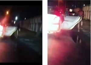 Naked man comes out of a moving car in Lekki, Starts Acting Funny (Video)