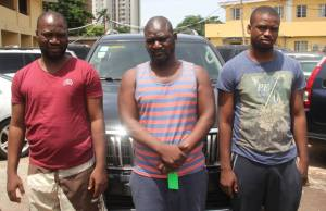 Cars, Laptops Recovered As EFCC Arrest Three 'Yahoo' Boys In Lagos. (Photos)