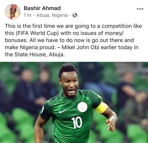 , World Cup 2018: First Time We Are Going To A Competition Without Issues Of Money & Bonuses – John Mikel Obi, Effiezy - Top Nigerian News & Entertainment Website