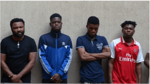 6 Yahoo Boys arrested by EFCC with 10 laptops, 17 phones and a car in Abuja (Photo)
