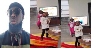 Watch As Timaya's daughters teach him how to dance 'Shaku Shaku' (Video)